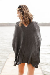 Oversized Tunic in Charcoal Back View