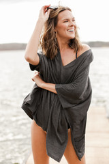 Oversized Tunic in Charcoal Front View