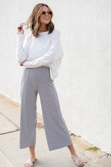 Dress Up model wearing Ribbed Wide Leg Pants