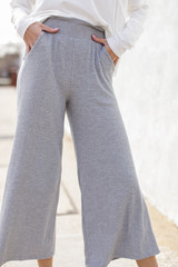 Close Up of Ribbed Wide Leg Pants