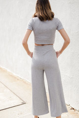 Ribbed Wide Leg Pants Back View
