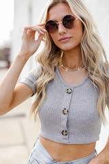 Model wearing a Ribbed Button Front Crop Top