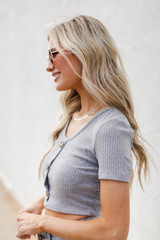 Ribbed Button Front Crop Top Side View