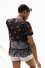 Mesh Floral Top Back View