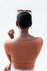 Square Neck Crop Top in Camel Back View
