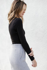 Square Neck Crop Top in Black Side View