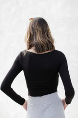 Square Neck Crop Top in Black Back View