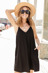 Black - Pocketed Swing Dress