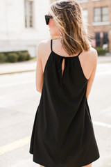 Pocketed Swing Dress in Black Back View