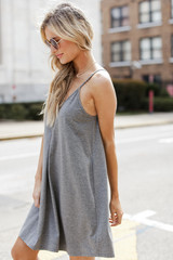 Pocketed Swing Dress in Charcoal Side View