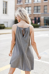 Pocketed Swing Dress in Charcoal Back View