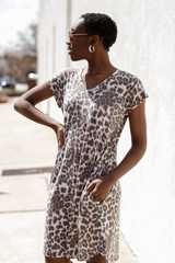 Model wearing Leopard T-Shirt Dress