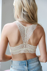 Lace Racerback Bralette in Ivory Back View