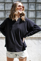 Black - Soft Ribbed Top from Dress Up