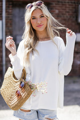 Ivory - Dress Up model wearing a Soft Ribbed Top