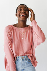 Blush - Soft Ribbed Top Front View