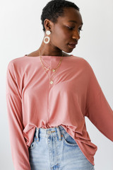 Blush - Soft Ribbed Top Front View on model