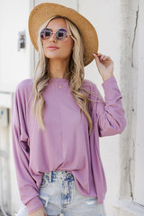 Lavender - Model wearing a Soft Ribbed Top with a straw hat