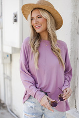 Lavender - Model wearing a Soft Ribbed Top with denim shorts