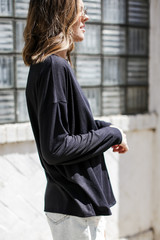Soft Ribbed Top in Black Side View