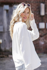 Soft Ribbed Top in Ivory Side View