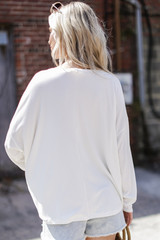 Soft Ribbed Top in Ivory Back View