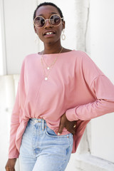 Soft Ribbed Top in Blush Front View