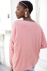 Soft Ribbed Top in Blush Back View