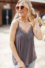 Charcoal - Layering Lace Tank Front View