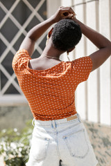Floral Bodysuit in Rust Back View