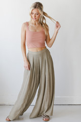 Wide Leg Pants in Olive Front View