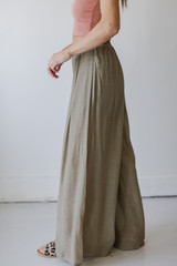 Wide Leg Pants in Olive Side View
