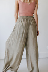 Wide Leg Pants in Olive Back View