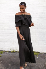 Black - Tiered Ruffle Off The Shoulder Top from Dress Up