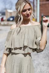 Olive - Model wearing a Tiered Ruffle Off The Shoulder Top