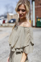 Tiered Ruffle Off The Shoulder Top in Olive Side View