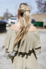 Tiered Ruffle Off The Shoulder Top in Olive Back View