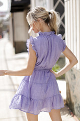 Ruffled Tiered Mini Dress in Periwinkle Back View