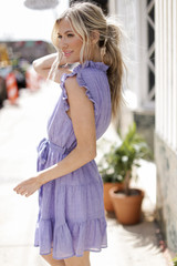 Ruffled Tiered Mini Dress in Periwinkle Side View