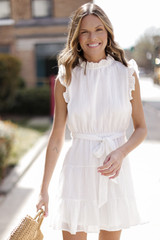 Ruffled Tiered Mini Dress in White Front View