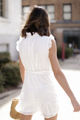 Ruffled Tiered Mini Dress in White Back View