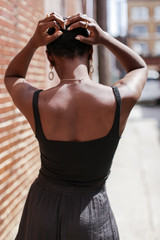Cropped Tank in Black Back View