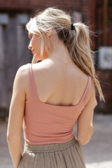 Cropped Tank in Blush Back View