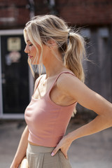 Cropped Tank in Blush Side View