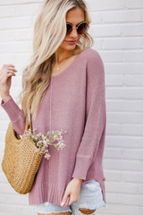 Lavender - Model wearing the Feel The Breeze Knit with denim shorts