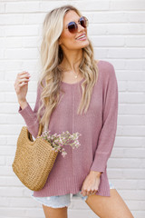 Lavender - Dress Up model wearing the Feel The Breeze Knit with denim shorts