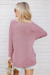 Feel The Breeze Knit in Lavender Back View