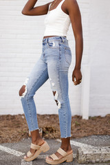 High Waist Distressed Skinny Jeans Side View