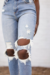 Close Up of High Waist Distressed Skinny Jeans