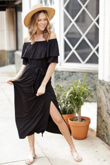 Black - Off-the-Shoulder Maxi Dress from Dress Up